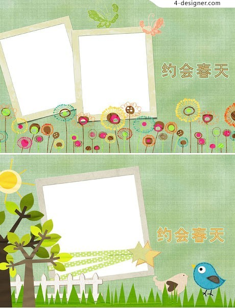 Spring photo template material