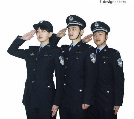 Three police uniforms salute material