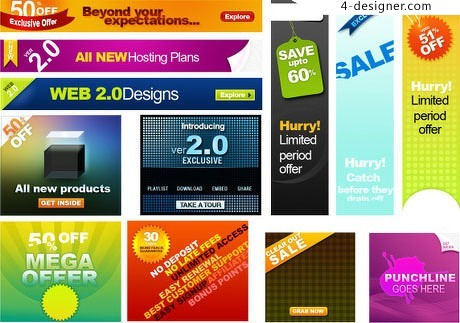 Web20 banner psd layered material