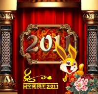 2011 Year of the Rabbit background template material