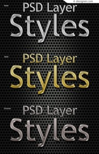 3 kinds of different materials layered material metal cool fonts