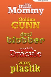 5 Lovely cartoon font layered material