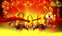 Happy New Year 2011 HE Chun fu rabbit PSD material