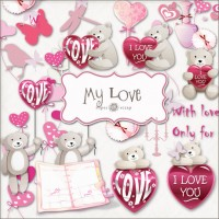 Love Bear PNG warm material