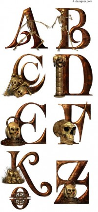 Metallic skeleton theme font decoration material