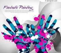 The trend of color ink background PSD material hands