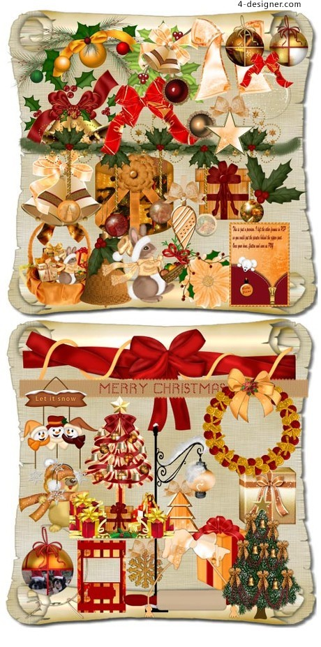 Warm Christmas elements layered material