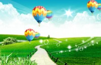 Colored hot air balloons sunny meadow dream