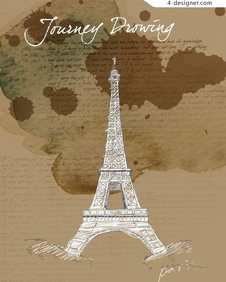 Eiffel Tower painted psd layered material