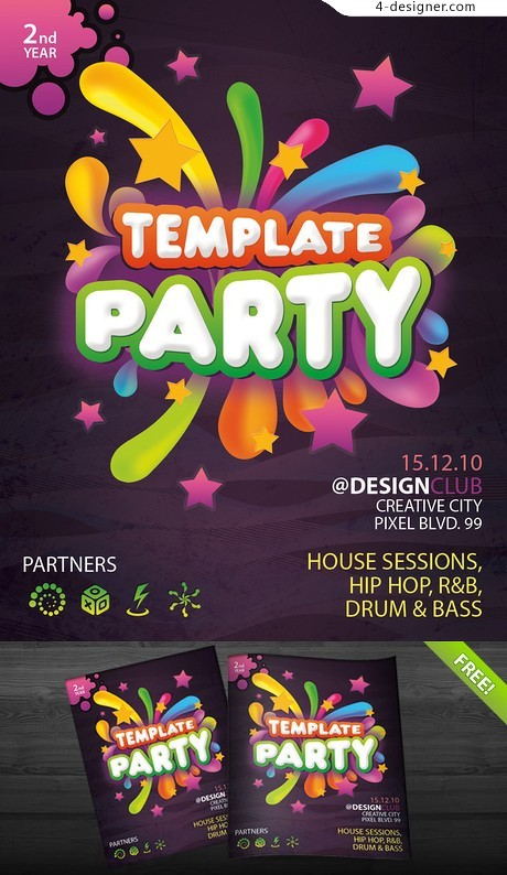 Fashion party brochure psd layered material