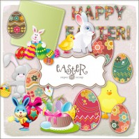 Lovely and elegant Easter decorations png material