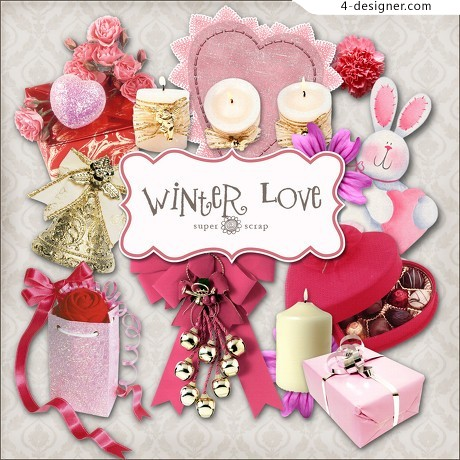 Romantic Valentine s Day decorative elements png material 01