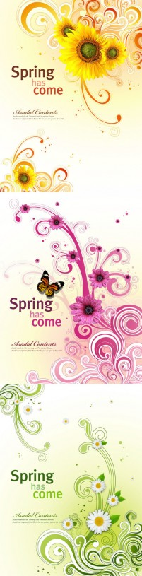 Spring is coming decorative patterns PS material