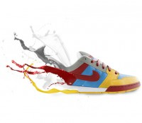 Step by step to create a paint splatter shoes posters PSD material