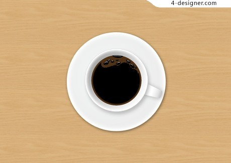 Top view of coffee cup psd layered material