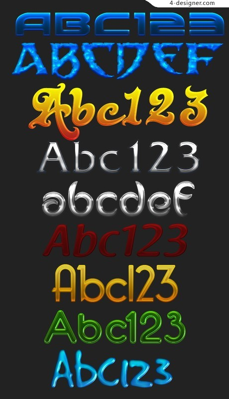 Variety of special effects font PSD material