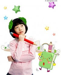 Children learning education PSD material