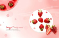 Delicious strawberry dessert PSD material
