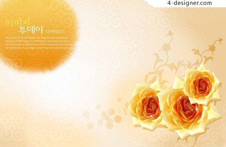 Rose background flowers background PSD material