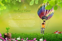 The little girl on a hot air balloon psd material