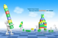 3D villain playing with blocks puzzle psd material