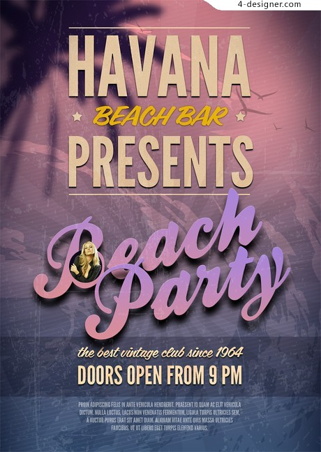 Beach party poster design psd material