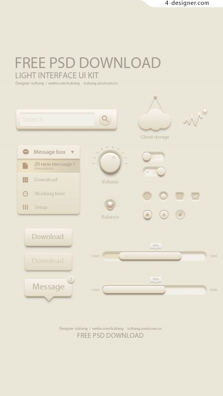 Beige interface UI toolkit psd material