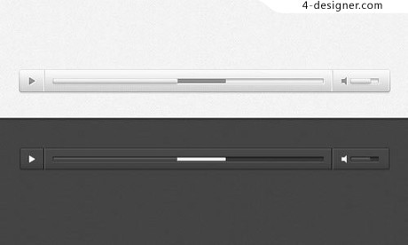 Black and white minimalist audio player PSD material