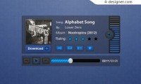 Blue music player PSD material