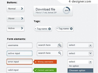 Bright UI toolkit PSD material
