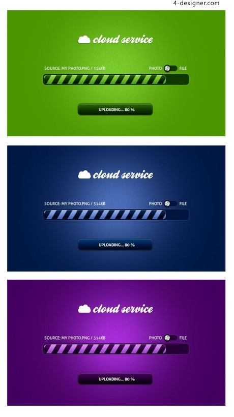 Colorful Clouds upload progress bar psd material web
