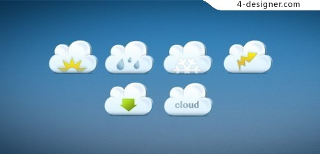 Cute icon psd material clouds