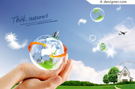 Earth holding fresh scenery PSD material