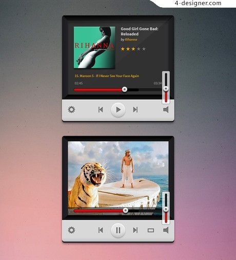 Excellent music player psd material