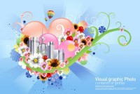 Flowers city illustration PSD material