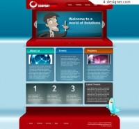 Foreign cartoon style web templates PSD material