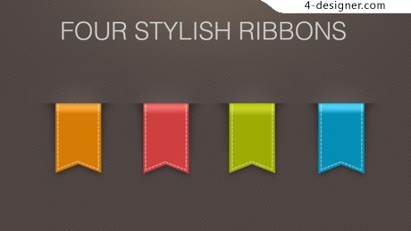 Four color ribbon bookmark psd material