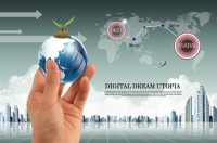 Holding earth business psd material