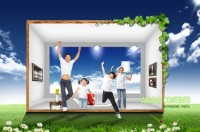 Korean happy family space PSD material