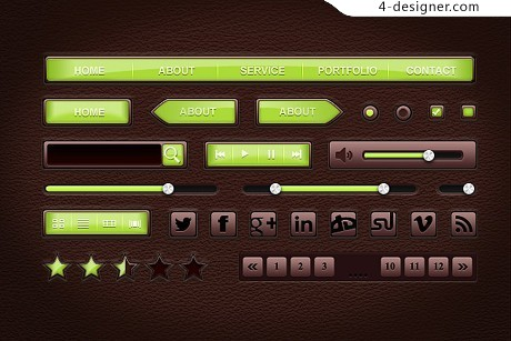 Leather style material UI PSD material