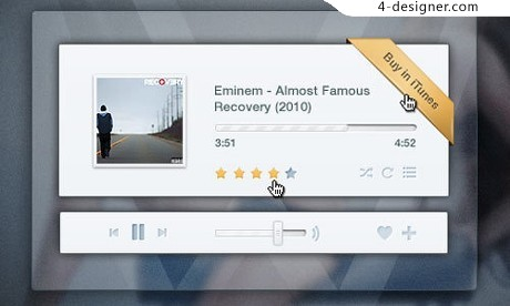 Light transparent music player PSD