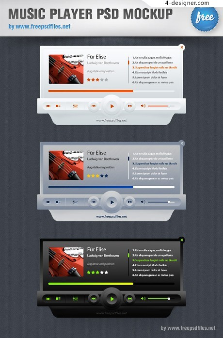 Music player psd material
