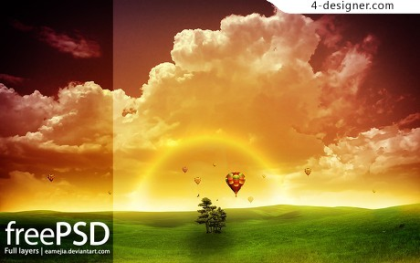 Prairie Hot air balloon background psd material