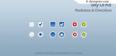 Radio buttons PSD material