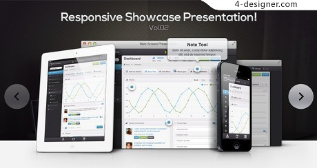 Responsive slide showing the effect psd material