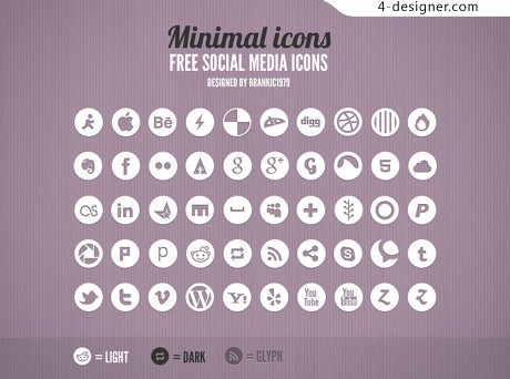 Round the social network icon PSD material