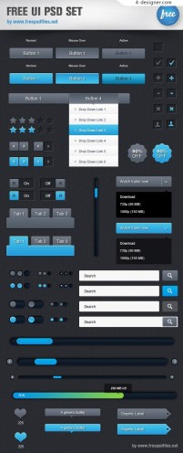 Simple UI elements psd material