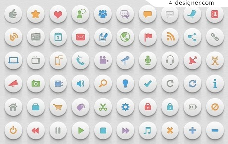 White colored buttons psd material