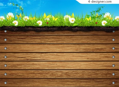 Wood background with flowers PSD material