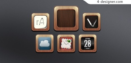 Wood frame application icon PSD